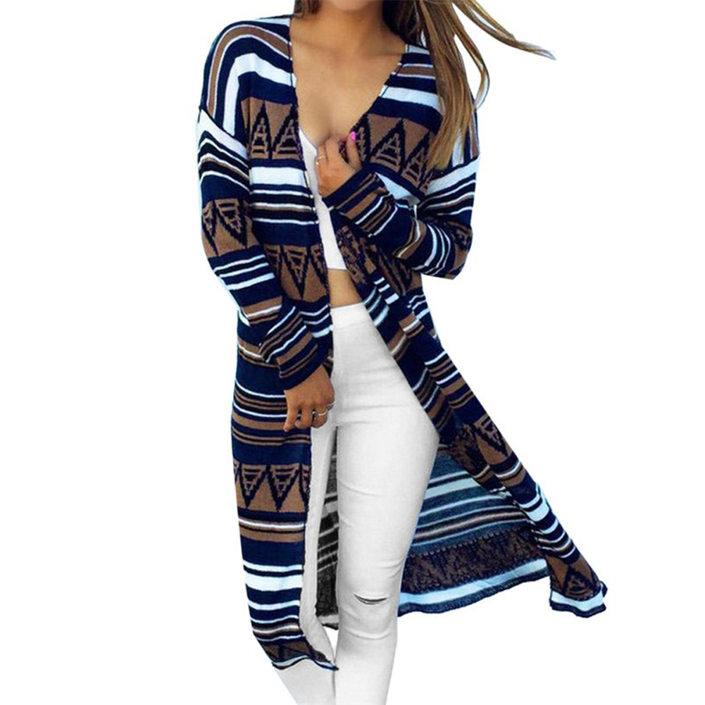 Cardigan Sweater for Women Long Type Coat Slimming Knitted Fashion Printed Spring Autumn