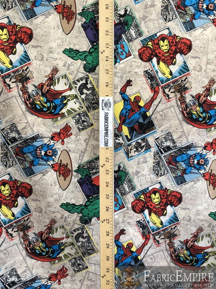 100/% cotton Quilting fabric Pre-cut FAT 14 yard Iron Man Spider Man Marvel comics Avengers Hulk wolverine Captain America Thor Blue