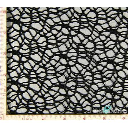 "Black Spider Mesh Fabric 2 Way Stretch Polyester 8 Oz 58-60"""