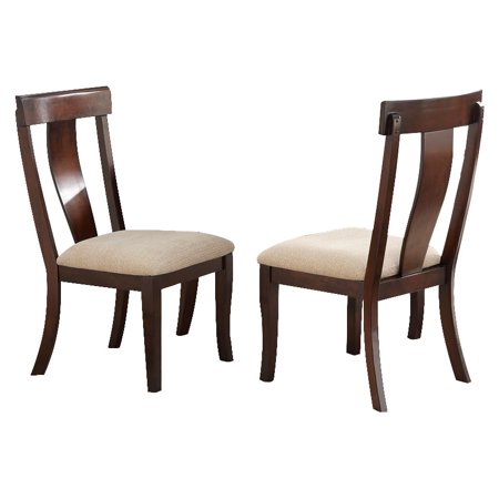 Rowena Formal Dining Room Chairs Cherry Wood Cream White Upholstered Seat Contemporary Fiddleback Set Of Two