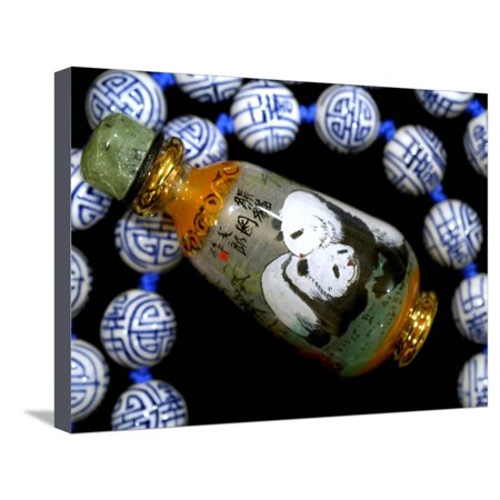 Hand Painted Panda Snuff Bottle, Chinese Bead Necklace, China Stretched Canvas Print Wall Art By Cindy Miller Hopkins (Inside Hand Painted Snuff Bottle)