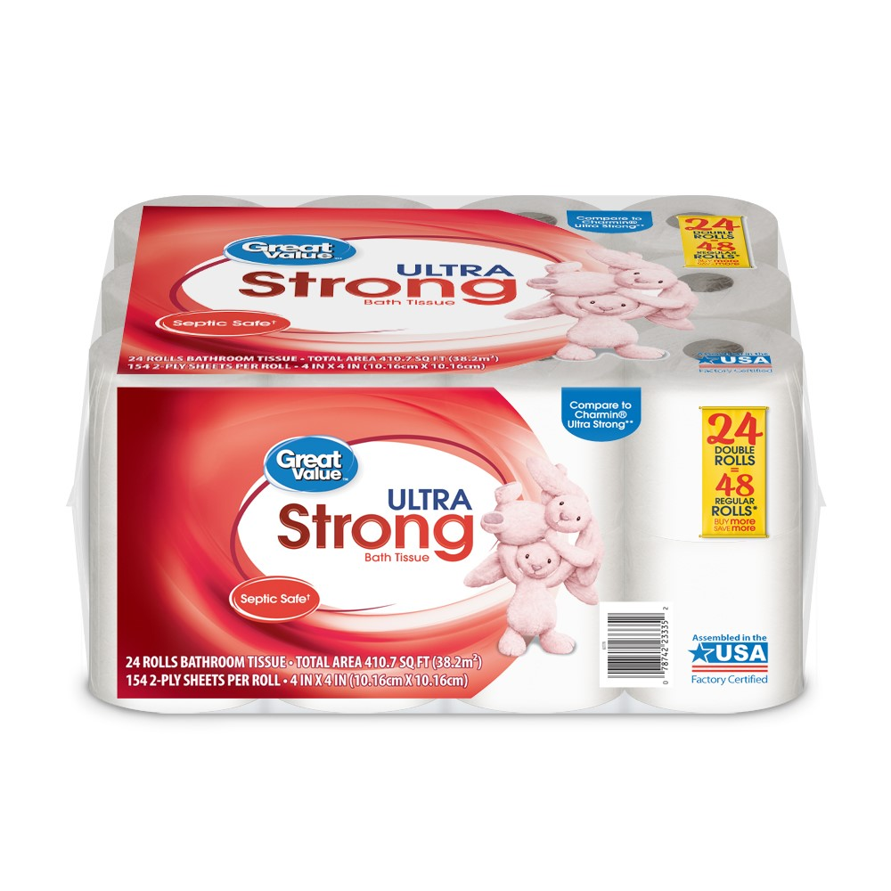 Great Value Ultra Strong Toilet Paper, 24 Double Rolls