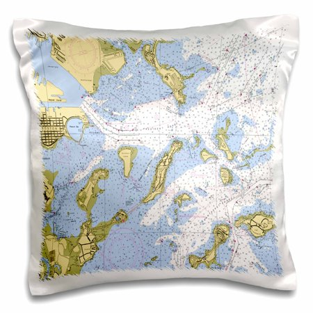 3dRose Print of Boston Harbor Nautical Chart - Pillow Case, 16 by 16-inch ()