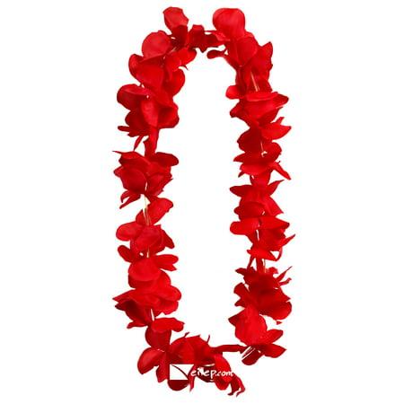Flashing Blinking Light Up Hawaiian Flower Luau Party Fabric Lei, - Hawaiian Silk Leis