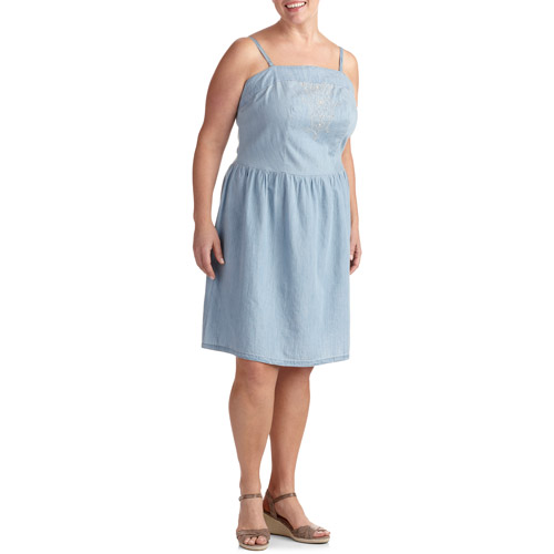 Faded Glory Women's Plus-Size Embroidered Denim Sundress