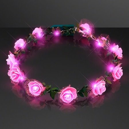 Light Up Pink Rose Flower Princess Halo Crown Headband by Blinkee (Halo Shower Light)