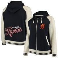 Detroit Tigers Soft as a Grape Women's Plus Size Varsity Raglan Full-Zip Hoodie - Navy/Cream