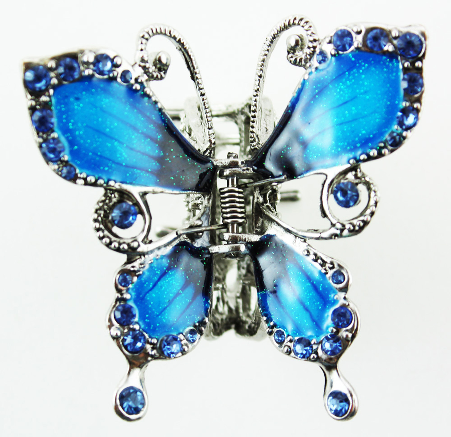 Butterfly Hair Clip - Silver Tone Butterfly Hair Accessory (Blue)