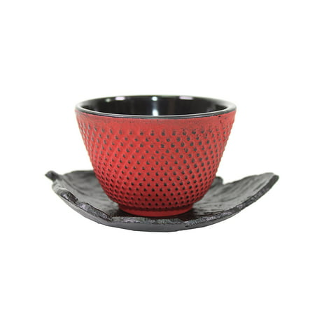 1 Black Leaf Teapot Saucer + 1 Red Polka Dot Hobnail Japanese Cast Iron Tea Cup Teacup