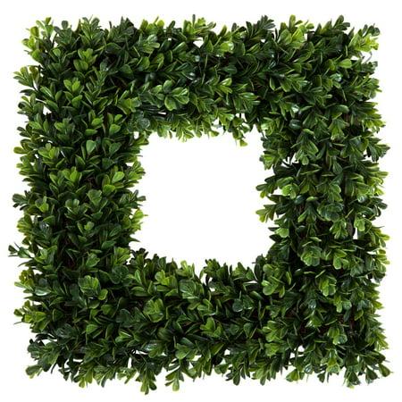 Pure Garden 16.5 inch Square Boxwood Wreath