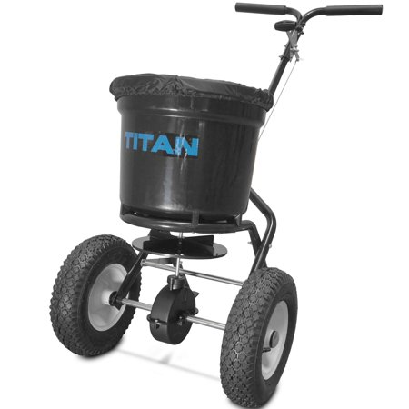 Professional Spreader - Titan 50 lb Professional Broadcast Spreader for Lawn Fertilizer Seed
