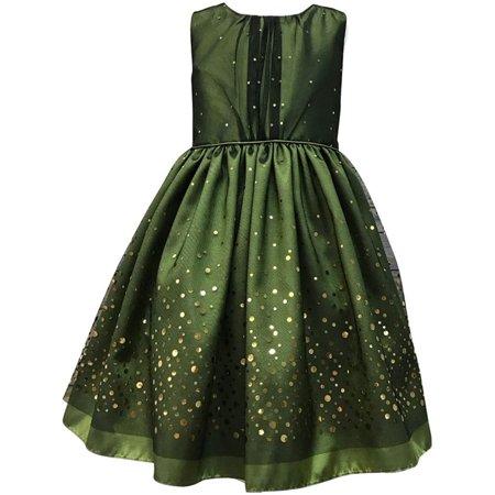 Little Girls Green Taffeta Mesh Sequin Christmas Dress 4