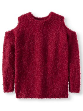 bfd1805897b Product Image Derek Heart Cold Shoulder Eyelash Pullover Sweater (Big Girls)