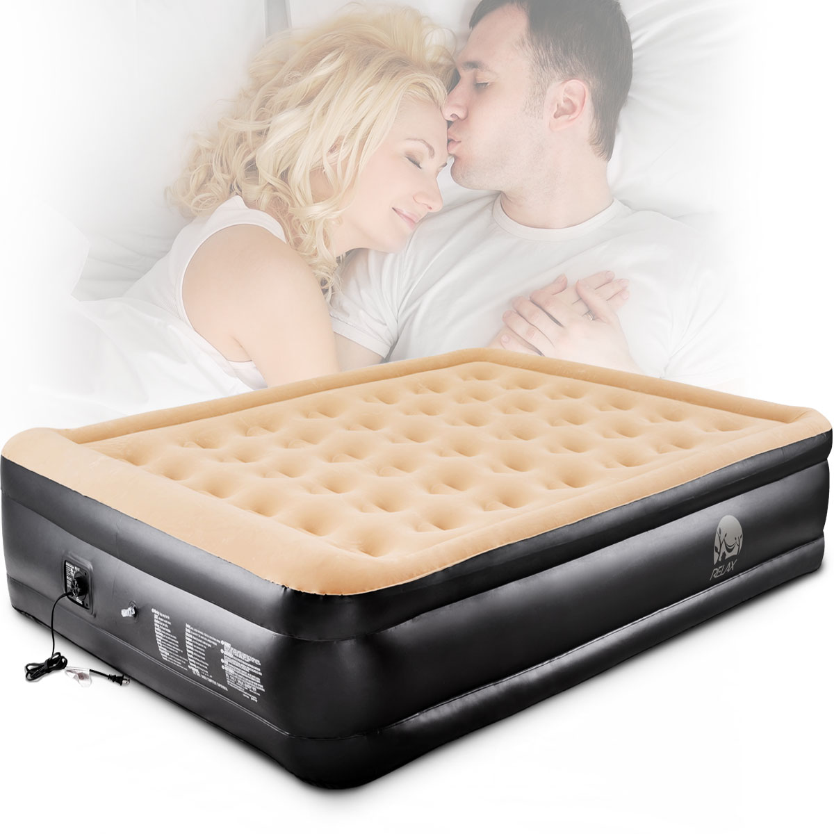 gymax double inflatable raised mattress air bed built in electric