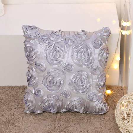 Tayyakoushi 3D Solid Satin Rose Flower Square Classical Pillowcase Bed Sofa Cushion Cover Arts Decorative Rose Flowers Throw Pillow Covers (Purple) 18''x18''