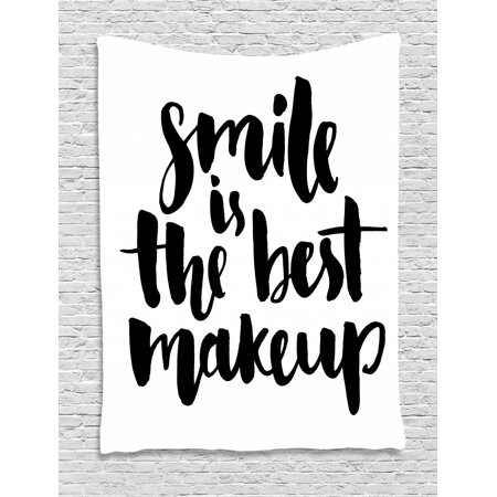 Quote Tapestry, Smile is the Best Makeup Inspirational Phrase Hand Written Daily Motivations, Wall Hanging for Bedroom Living Room Dorm Decor, Black and White, by