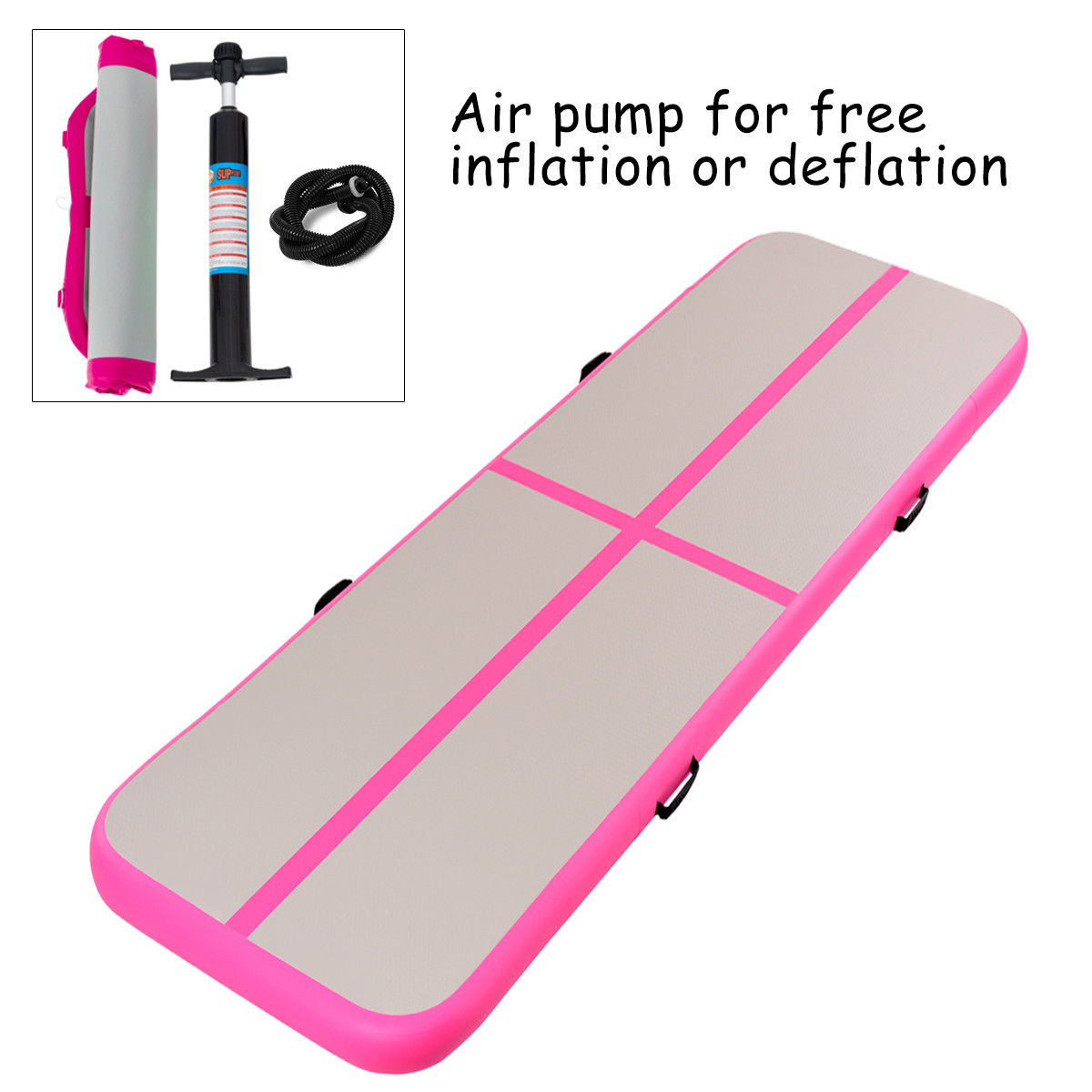Goplus 13' Inflatable Gymnastics Mat Air Track Floor Mat Water Buoyancy with Pump Pink