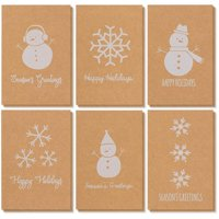 36-Pack Merry Christmas Holiday Greeting Cards Bulk Box Set - Winter Holiday Xmas Kraft Greeting Cards with Snowman and Snowflake Illustrations, Envelopes Included, 4 x 6 Inches