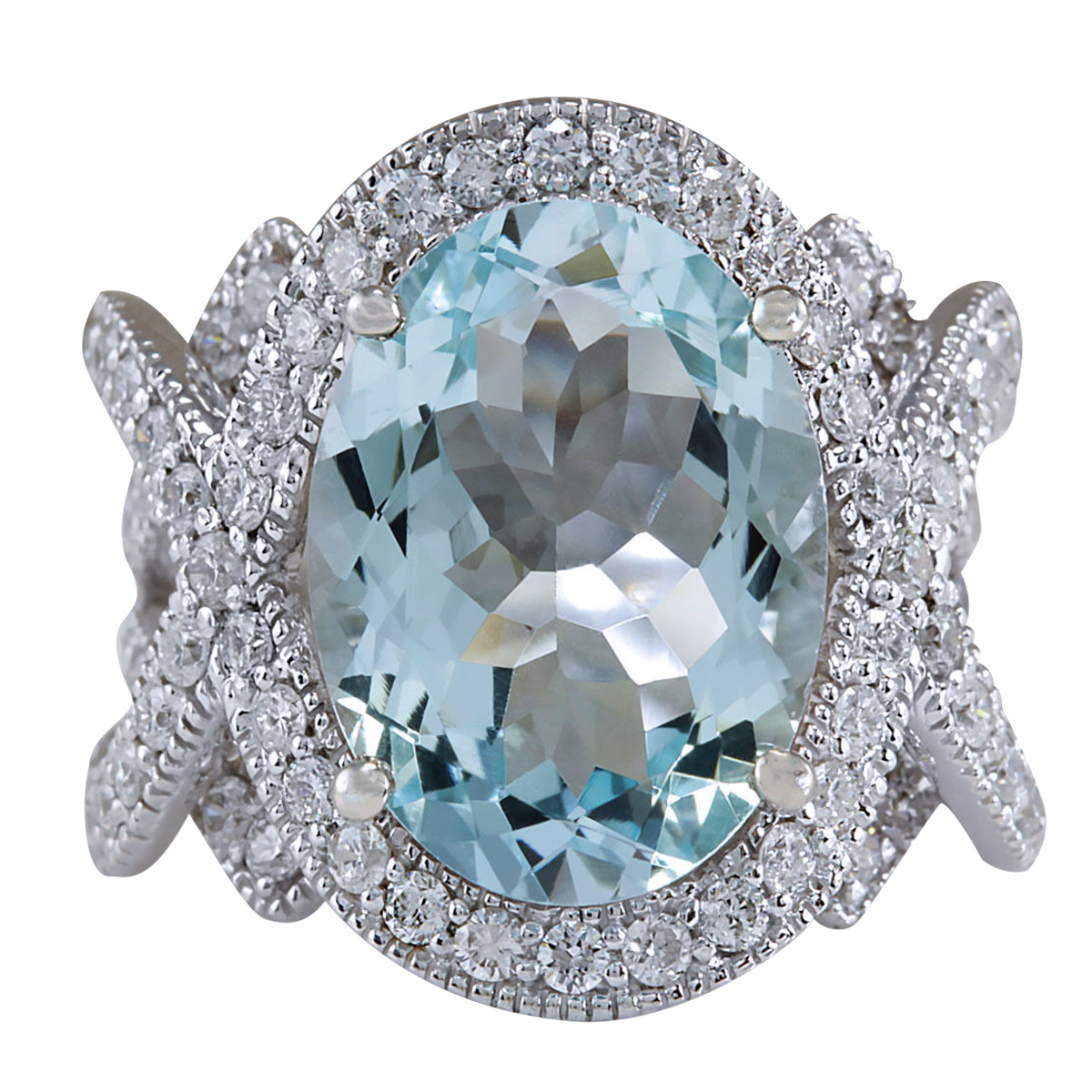 8.91CTW Natural Aquamarine And Diamond Ring In 14K Solid White Gold