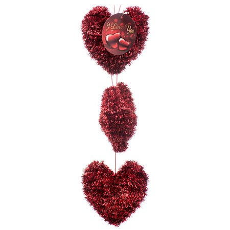 New 379872  Hv Valentine Deco Hanging Heart 3Pc W / Asst Clrs (24-Pack) Valentine Cheap Wholesale Discount Bulk Seasonal Valentine 5