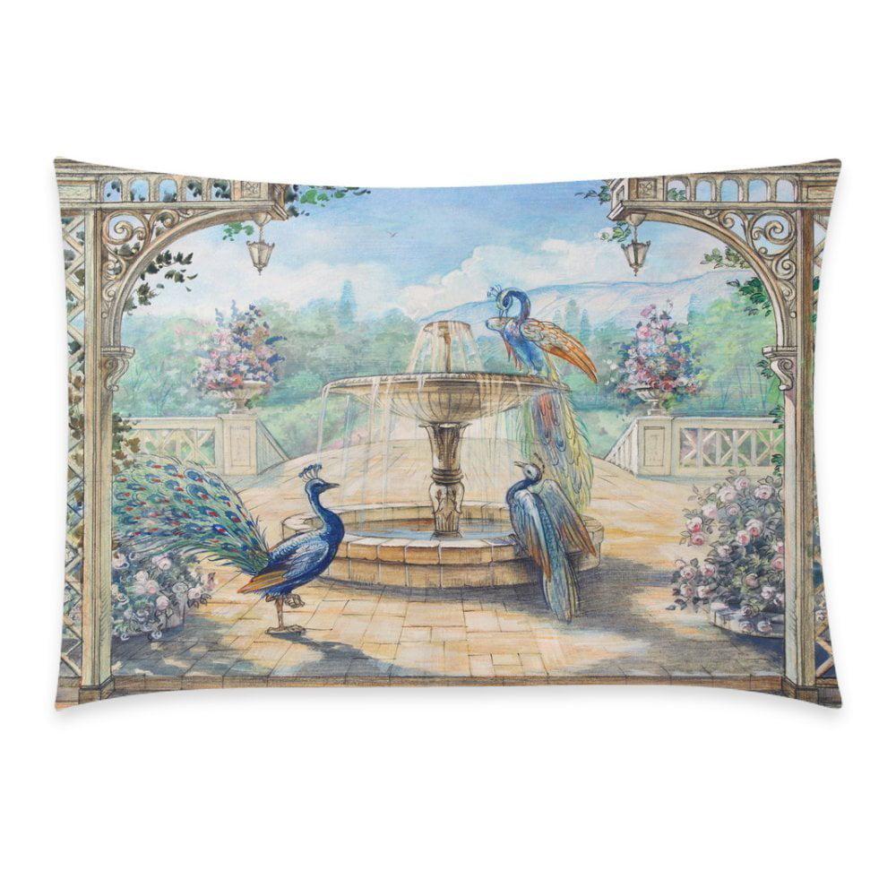 ZKGK Home Bathroom Decor Watercolor Floral Peacock Pillowcases Decorative Pillow Cover... by ZKGK