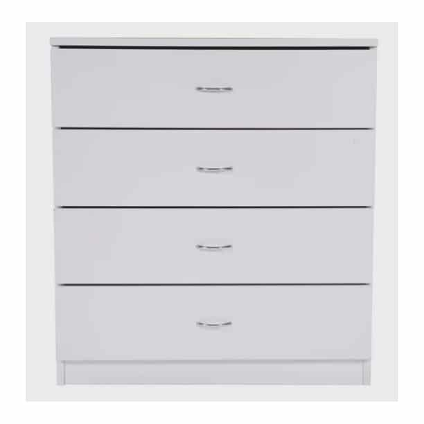 UBesGoo 4-Drawer Dresser Pure White with Metal Handles Bedside Night Stand Bedroom Best Furniture