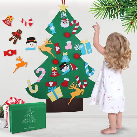 TSV 3ft DIY Felt Christmas Tree Set + 26 Pcs Detachable Ornaments, Adorable Wall Hanging Xmas Gifts for Christmas Decorations - Kids Xmas Gifts Year Home Door Wall Hanging Decor, Educational Toy ()