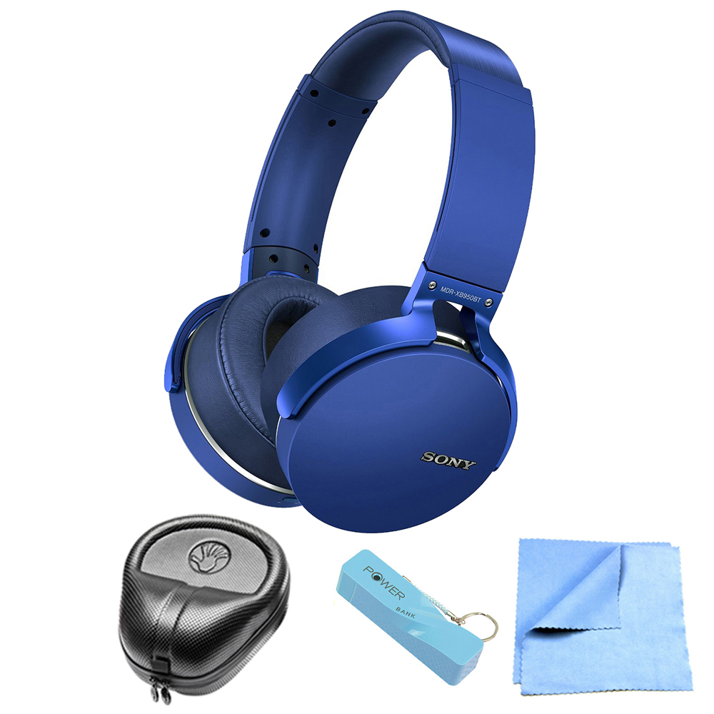 Sony XB950BT Extra Bass Bluetooth Wireless Headphones - Blue Bundle
