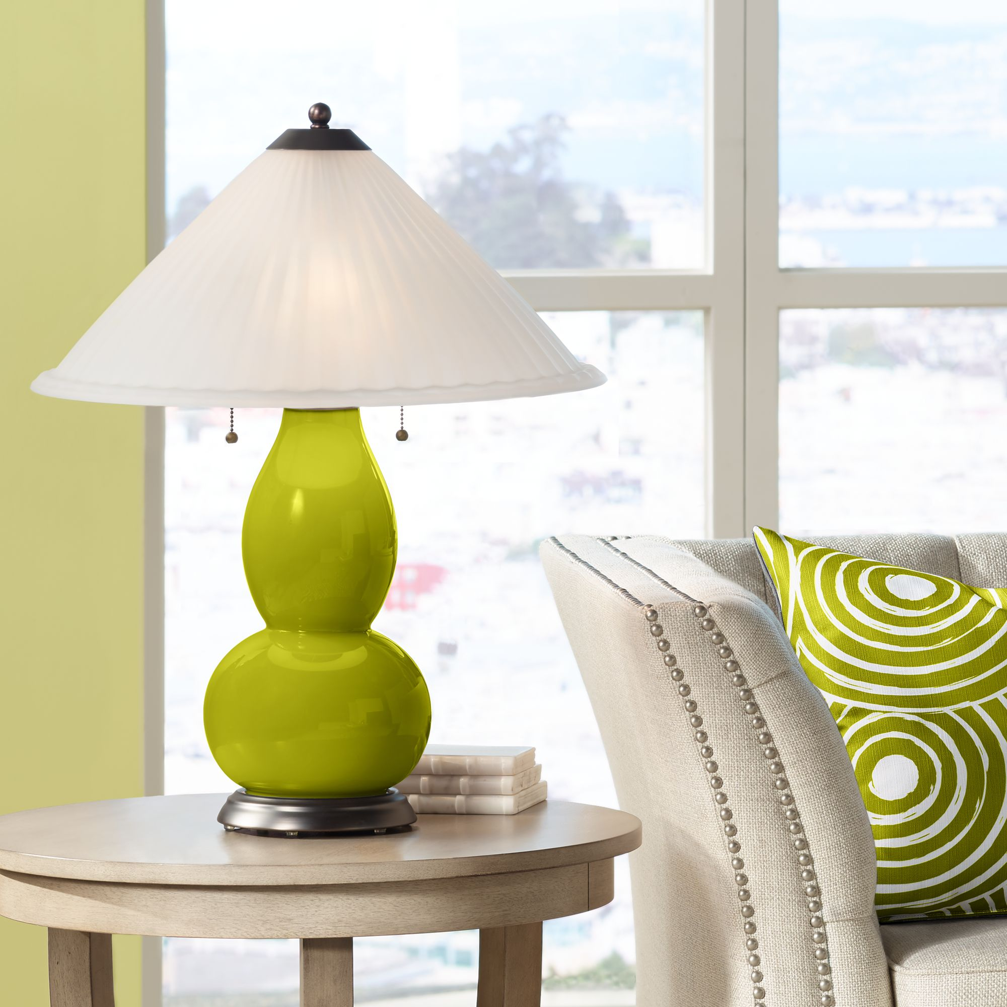 Color Plus Olive Green Fulton Table Lamp With Fluted Glass Shade
