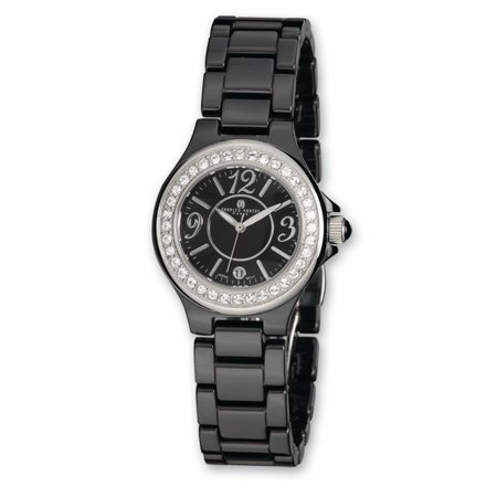 Lex & Lu Ladies Charles Hubert Black Ceramic Crystal Bezel Watch XWA3248