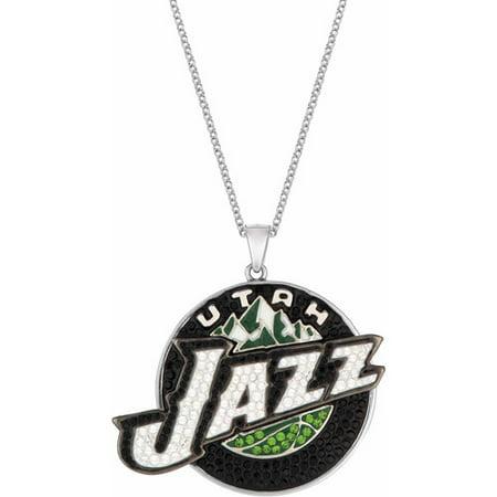 "NBA Mens Swarovski Crystal Fine Silver-Tone Utah Jazz Medallion Pendant, 24"" by"