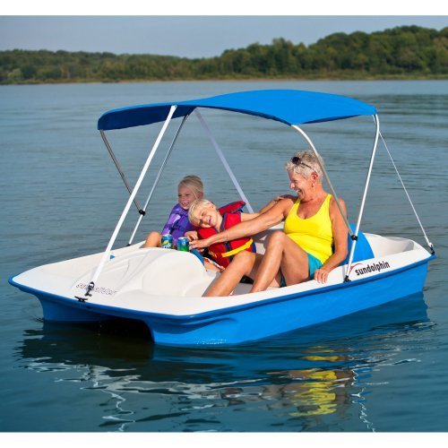 Sun Dolphin Blue Sun Slider Paddle Boat with Canopy