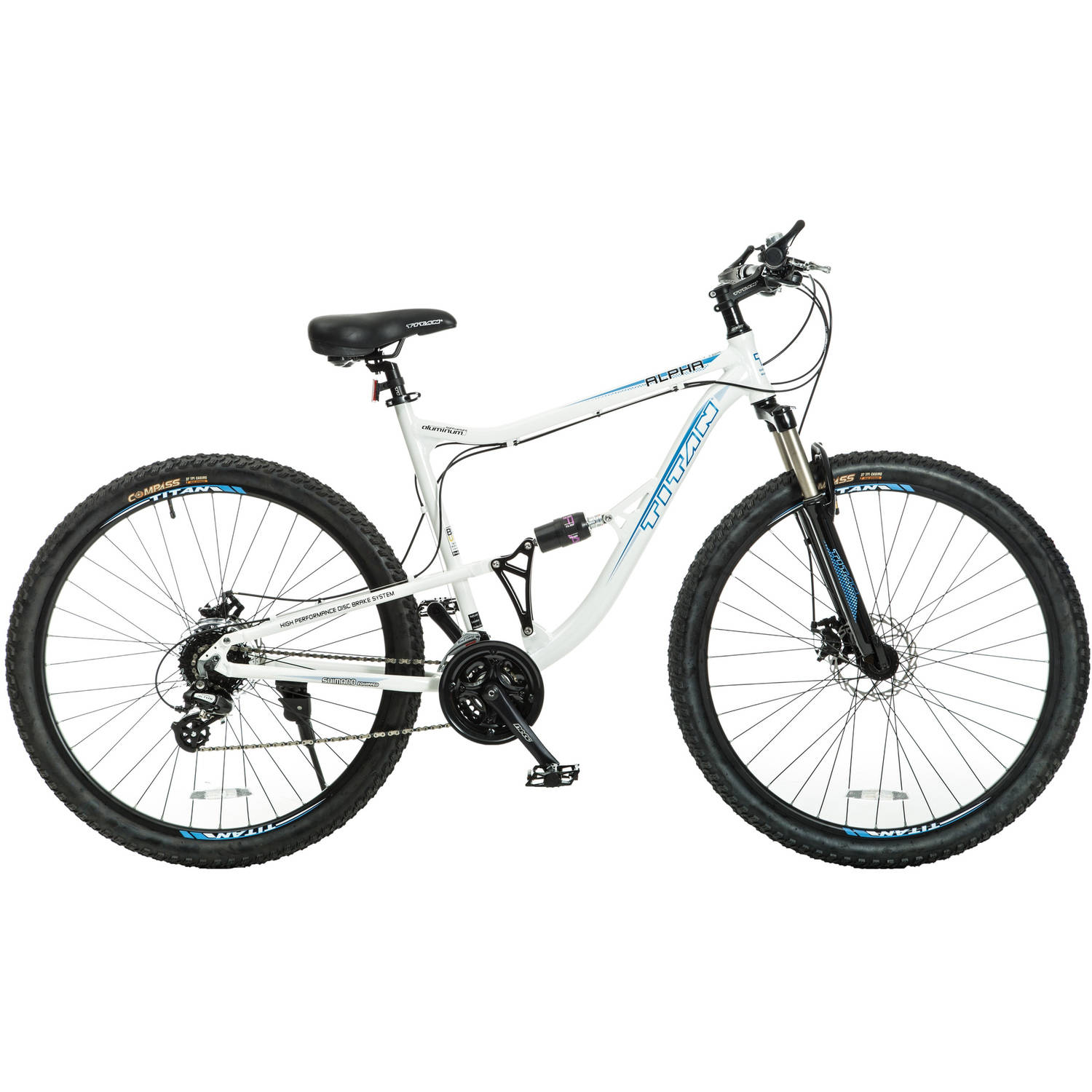 "29"" Titan Alpha Men's Mountain Bike, White with Blue Decals by Titan"