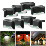 4Pcs Solar Step Lights Outdoor Deck Fence Stair Warm Light Sun Powered LED Illuminated Landscape Lighting Automatic On & Off Waterproof for House Yard Garden Patio