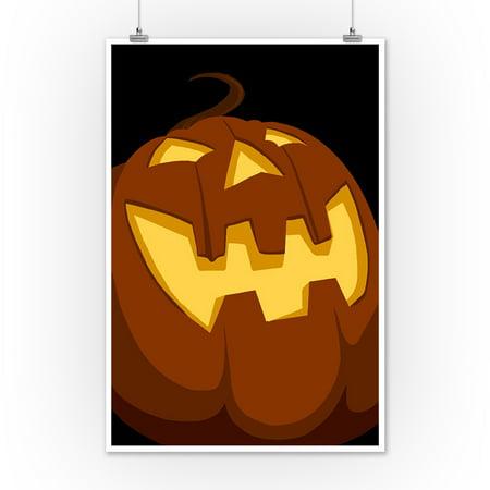 Halloween Jack o'Lantern - Vector - Lantern Press Artwork (12x18 Art Print, Wall Decor Travel (Halloween Jack O'lanterns Print)