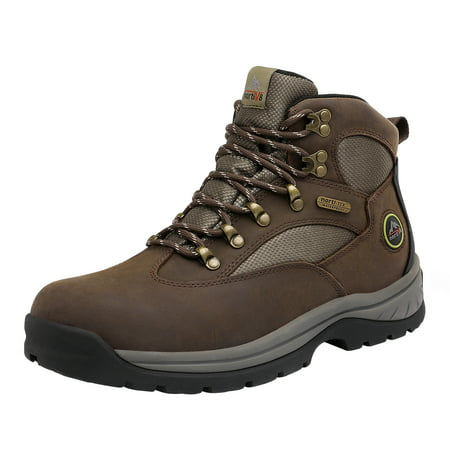 NORTIV 8 Men's Waterproof Hiking Boots Mid Ankle Leather Hiker Backpacking Boots ROCKFOR BROWN Size 12