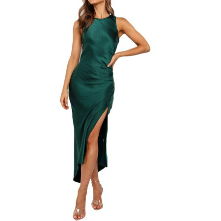 Womens Satin Silk Midi Dress Ladies Strappy Evening Cocktail Party Dress Panel Silk Dress