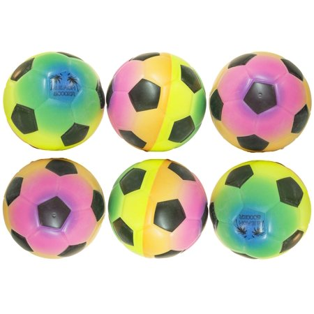 4 Inch Foam Stress Rainbow Soccer Balls Lot of 6 Pieces Brand New