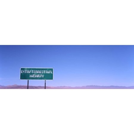 Extraterrestrial Highway Sign Area 51 Nevada Usa Canvas Art   Panoramic Images  36 X 12