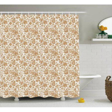 Brown And White Shower Curtain Garden Full Of Roses Romantic Feminine Arrangement Love Flowers