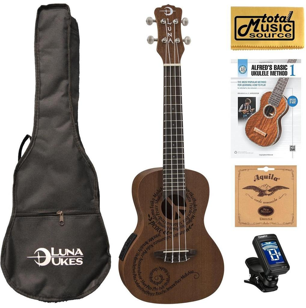 Luna Mahogany Series Maluhia Peace Acoustic-Electric Concert Ukulele W/Gigbag,Tuner,Strings,Book & PC, UKE MALU EL COMPBK