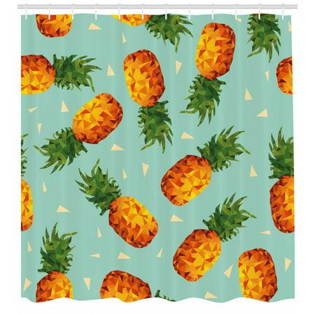 Retro Shower Curtain Poly Style Pineapples Motif Vintage Beach Summer Modern Illustration Fabric Bathroom Set With Hooks Seafoam Olive Green Orange