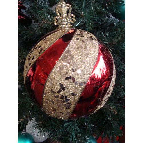 Northlight Seasonal Shatterproof Regal Glitter Stripe Shiny Christmas Ball Ornament