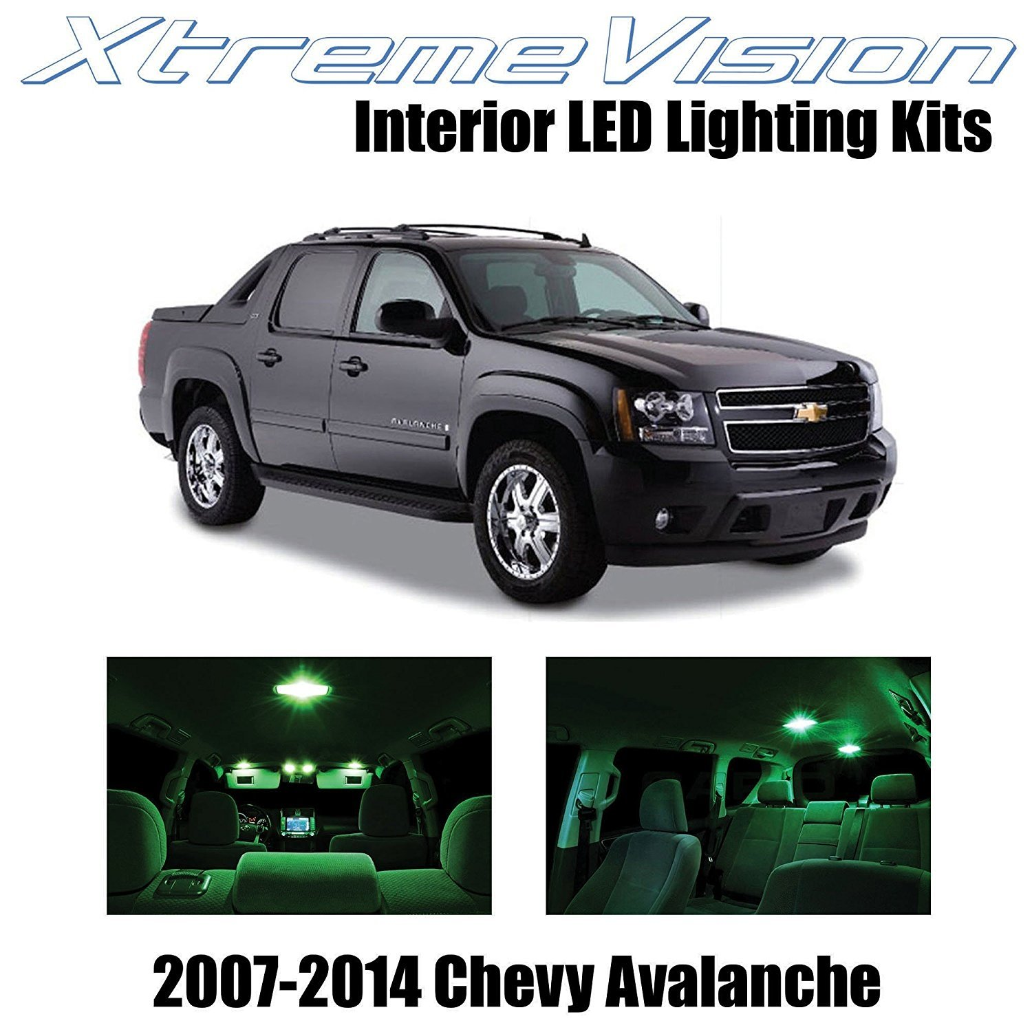 XtremeVision LED for Chevy Avalanche 2007-2014 (14 Pieces) Green Premium Interior LED Kit Package + Installation Tool