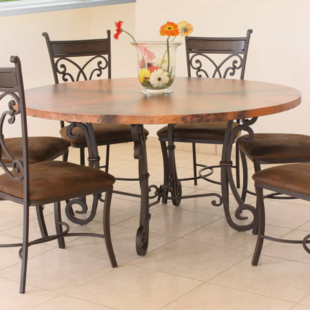 Valencia Round Copper Top Dining Table - Dark Brown