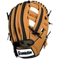 "Franklin Sports 9-1 2"" Black and Tan PVC Right-Handed Thrower Baseball Glove with Ball by Franklin Sports"