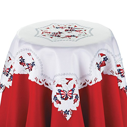 Collections Etc Embroidered Fourth of July Lace Table Linens by Collections Etc