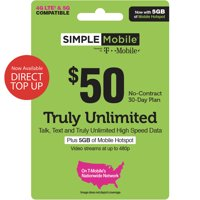 Simple mobiles $50 TRULY UNLIMITED plus mobiles Hotspot (Email Delivery)