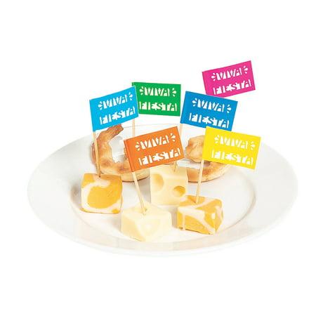 Fun Express - Fiesta Viva Cutout Food Stick for Cinco de Mayo - Party Supplies - Serveware & Barware - Picks & Stirrers & Parasols - Cinco de Mayo - 144 Pieces (Cinco De Mayo Party)