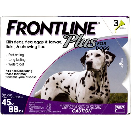 Frontline Plus Flea and Tick Control for Large Dogs 45 to 88 lbs., 3ct